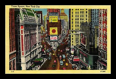 Dr Jim Stamps Us Times Square New York City Linen View Postcard