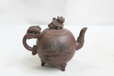 Chinese Yixing Calligraphy 3 Footed Dragon Phoenix Bird Pottery Teapot Signed
