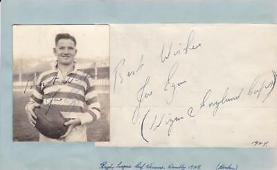 Joe EGAN (1919-2012) Wigan & England Rugby League signed Photo & Page AFTAL
