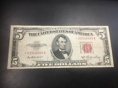1953 A $5 United States Star Note *Rare* Red Seal *02548589