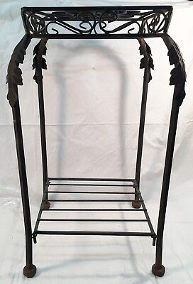 Vintage  Wrought Iron Floor Standing Two Tier Plant Stand Black