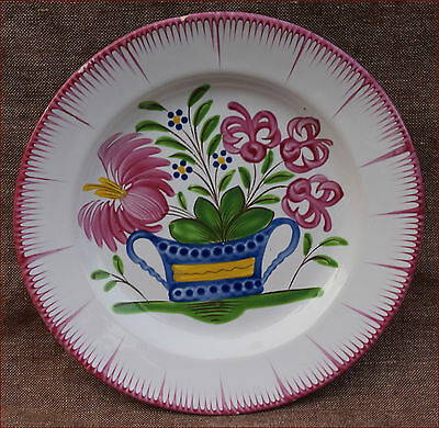 French Faience Flowered Basket Plate Les Islettes Strasbourg St Clement 19th C