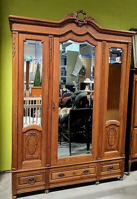 Fresh From France! Antique French Oak Armoire Wardrobe, Mirror Doors, Flat Pack