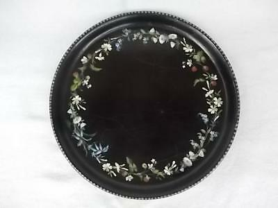 83 / Antique English Lacquered Papier Mache Tray Painted With Wild Flowers