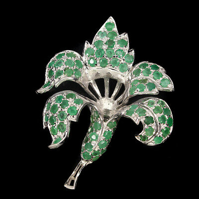 Precious Round Cut 3mm Top Rich Green Emerald 925 Sterling Silver Orchid Brooch