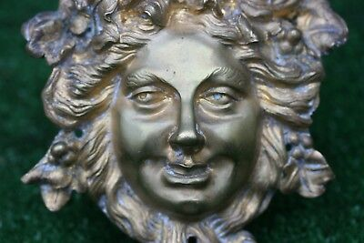STUNNING MID 19thC GOTHIC GILT BRONZE MALE HEAD MOUNT: INTRICATE DETAIL c1850s
