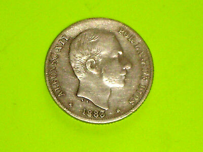PHILIPPINES SPAIN SILVER COIN 1885 ALFONSO XII 20 C. De Peso Circulated