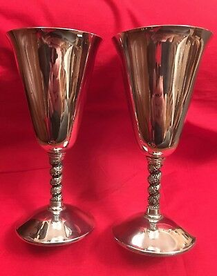 Pair Of Vintage Spanish Silver Plated Wine Goblets By Lemsa c.1960's