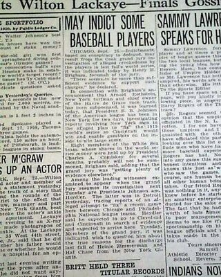 Chicago Black Sox World Series Scandal Breaks Players Suspensions 1920 Newspaper Fan Apparel & Souvenirs