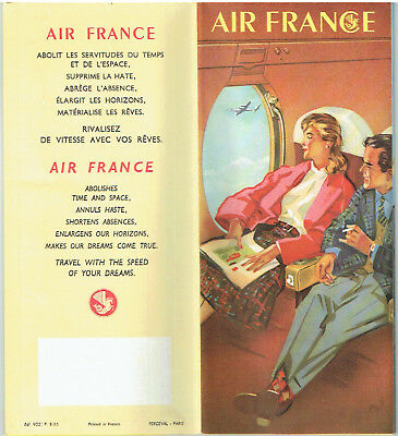 AIR FRANCE Flugnetz - Karte Weltweit 1955 Airline Map Net work RRR