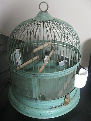 """antique metal BIRD CAGE wire screen OWL DECO vintage 14"""" green paint"""