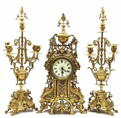 Large XL Antique 19th c French Gilt Pierced Bronze Mantle Clock Garniture Set