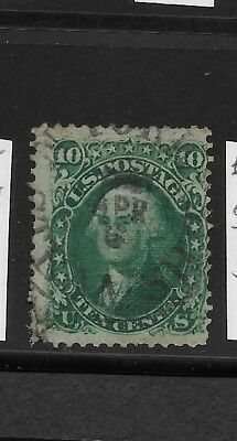 US Scott #96 used 10c green Washington with clear grill 1868 fine, with fault