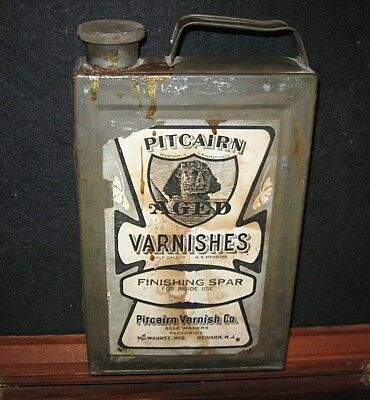 Vtg Rare Old 1910 20s PITCAIRN Varnish Paint 1/2 Gallon Can Egyptian Sphinx