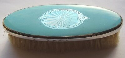 Antique Art Deco Silver & Guilloche Turquoise Enamelled Brush Hallmarked 1938