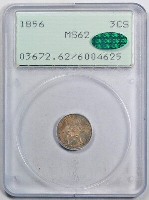 1856 3CS Three Cent Silver PCGS MS 62 Uncirculated Rattler CAC Approved