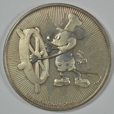 2017 Niue 1 Oz Silver Mickey Mouse Steamboat Willie $2 Coin (b504.11)