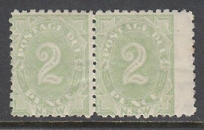 NEW SOUTH WALES 1892 2d POSTAGE DUE perforated 10, pair, MNH