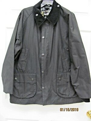 Barbour Bedale Jacket Black Waxed Cotton Tartan Lining Men's 42 Made in England
