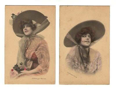 PAIR Of Antique Art Nouveau Schlesinger Bros. NY Beautiful Woman Lady Postcards
