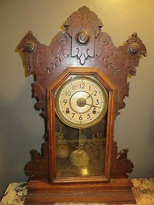 Charming Antique 19Th Century Seth Thomas Oak Gingerbread Mantel Parlor Clock