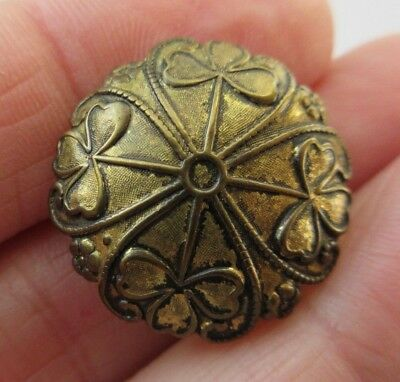 "Fabulous Antique~ Vtg Victorian Brass Metal BUTTON Plant Life Clovers 7/8"" (R)"