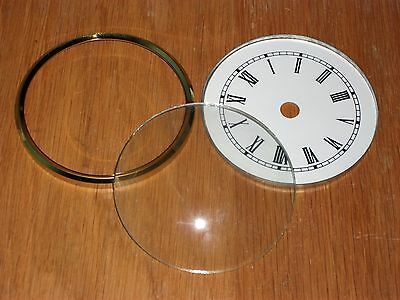 BRASS CLOCK BEZEL WITH DIAL PAN & DOMED GLASS FACE 89mm 135mm 150mm 200mm