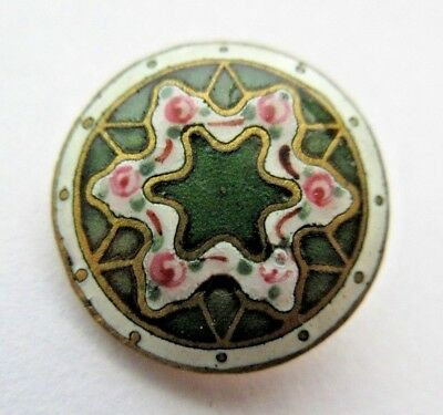 """Flawless Antique Victorian French Champleve ENAMEL BUTTON STAR & Roses 5/8"""" (R)"""