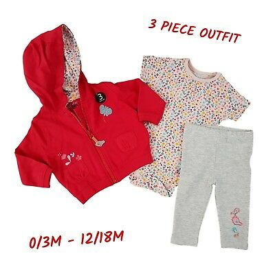 Baby Girls Outfit 3pc Piece Set Cardigan Top Legging Hoodie Vest 100%Cotton NEW