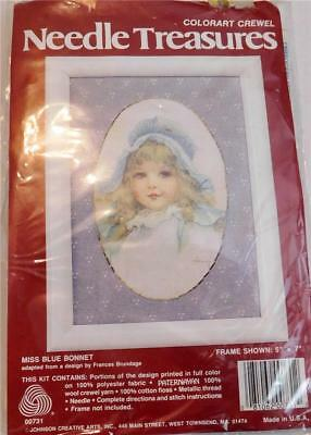"""Needle Treasures~Colorart Crewel Kit~Miss Blue Bonnet~5""""X7""""~Sealed~Girl with Hat"""