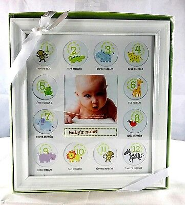 """Stepping Stones First Year Baby's Picture Frame (White) 12"""" Tall x 11"""" Wide"""