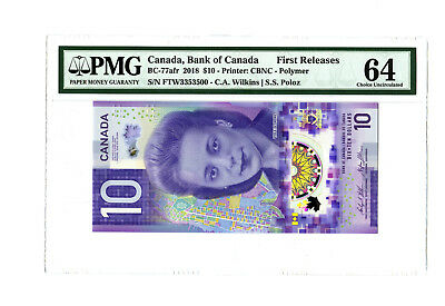 2018 $10 CANADA BC-77 BC-77afr PMG 64 FIRST RELEASES VIOLA DESMOND BANKNOTE