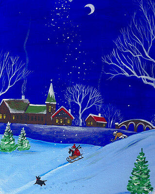 Aceo Print Of Painting Ryta Scottish Terrier Xmas Folk Art Winter Landscape Snow