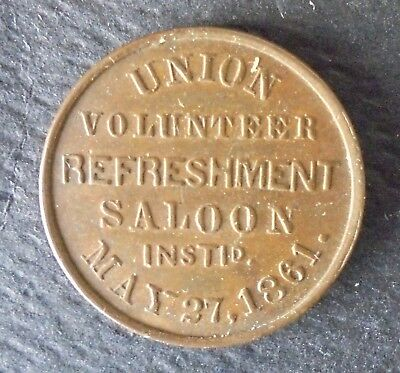 PA 750W-3a  (PHILADELPHIA PA ) UNION VOLUNTEER REFRESHMENT SALOON CIVIL WAR TOKE