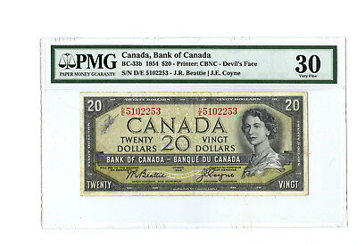 1954 $20 CANADA PMG 30 DEVIL'S FACE BC-33b BANKNOTE S/N D/E 5102253 ANNOTATION