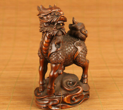 Blessing Rare chinese old boxwood hand carved kirin statue collectable