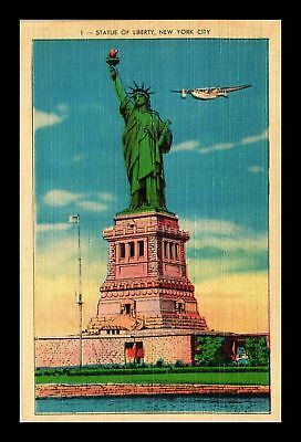 Dr Jim Stamps Us Statue Of Liberty New York City Linen View Postcard