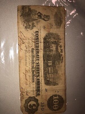 the confederates states of america one hundred dollars