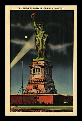 Dr Jim Stamps Us Statue Of Liberty Night View New York City Linen Postcard