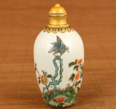 big chinese old porcelain hand painting flower bird snuff bottle collectable