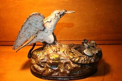 Antique Cast Iron Eagle & Eaglets Mechanical Bank by J & E Stevens c. 1883
