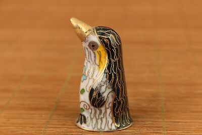 Lovely Chinese Old Cloisonne Hand Painting penguin figure Statue hand piece