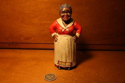 Original Antique Cast Iron MAMMY HANDS ON HIPS  Bank Toy by Hubley c. 1920,s,s