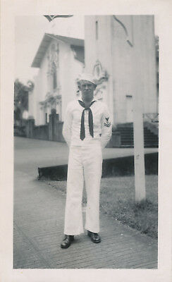 WWII 1944  NASP sailor visits Hilo Hawaii photo at Hilo church
