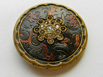 Large Antique Victorian Button Textured Celluloid Background with Inset Paste