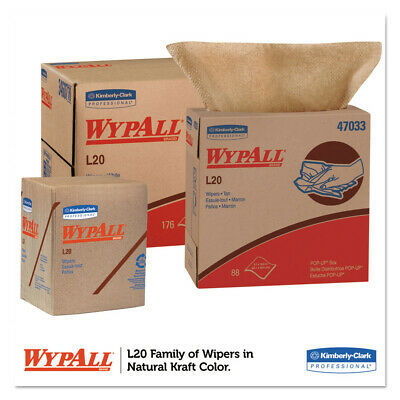 Kimberly-Clark L20 Wipers, Pop-Up Box, 2-Ply, 9 1/10 X 16 4/5, Brown, 88/box, 10