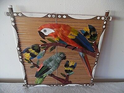 Vintage Bamboo And Feather Art Parrots Wall Hanging Made In Manaus South America