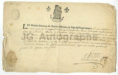 18th Century - Early French Original Antique Document 1734 with Wax Seal