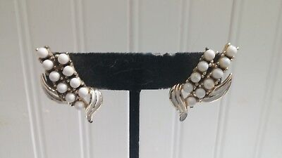 Enameled Goldtone Metal Modernist Lily of the Valley Flower Clip-On Earrings