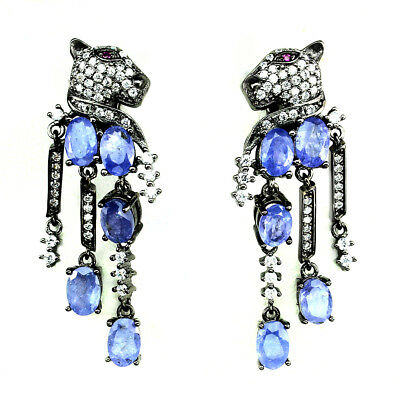 Awesome Oval 6x4mm Blue Violet Tanzanite Cz 925 Sterling Silver Tiger Earrings